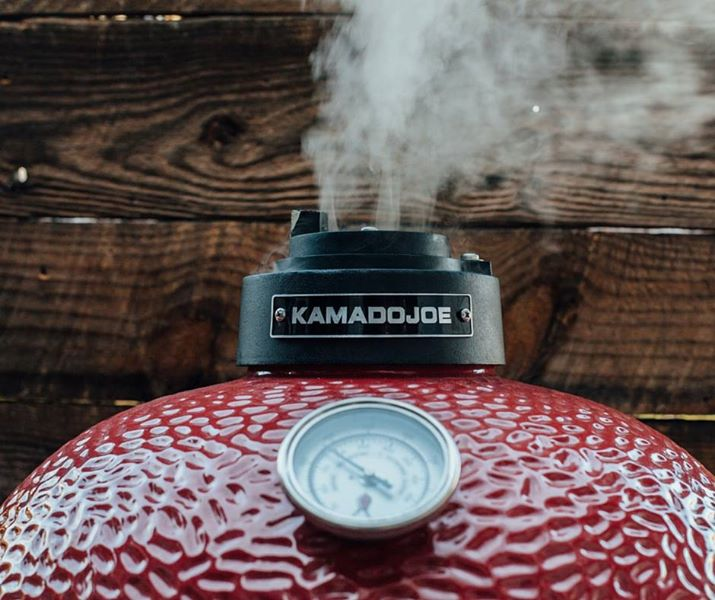 Photo of a Kamado Joe grill in use.